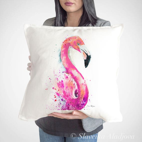 Flamingo throw pillow cover by Slaveika Aladjova, cushion cover, Decorative Pillow Cover, Animal Art, Watercolor pillow, Christmas gift