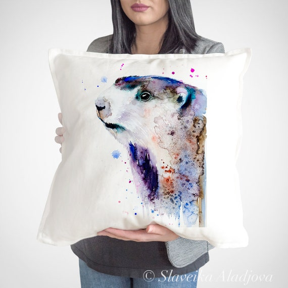Marmot pillow cover by Slaveika Aladjova, cushion cover, Decorative Pillow Cover, Animal Art, Watercolor pillow, Christmas gift idea