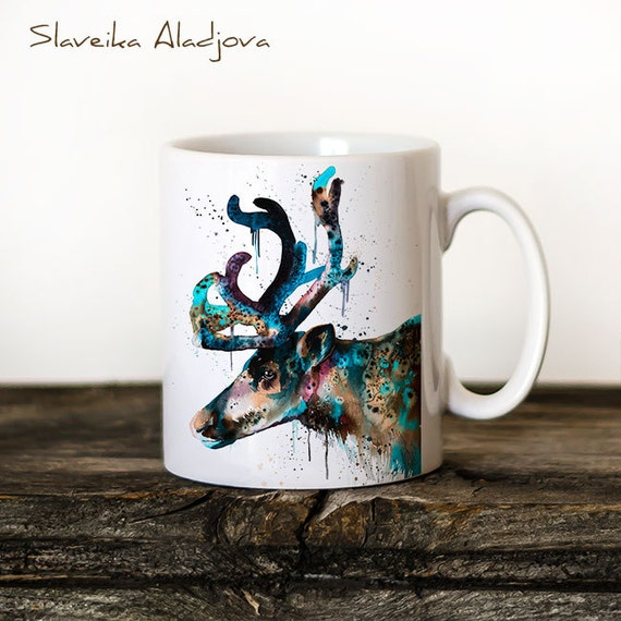Reindeer Mug Watercolor Ceramic Mug Unique Gift Coffee Mug Animal Mug Tea Cup Art Illustration Cool Kitchen Art Printed mug