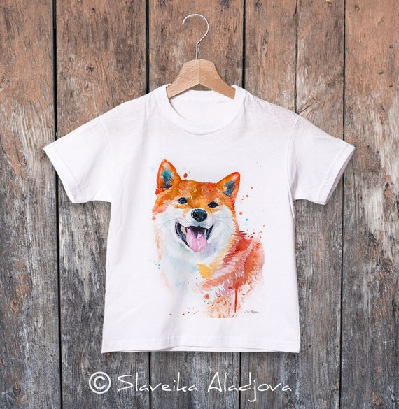 Shiba Inu T-shirt, Shiba Inu watercolor kids T-shirt, Boys' Clothing, Girls' Clothing, ring spun Cotton 100%, T shirt art