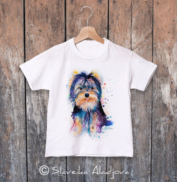 Yorkshire Terrier watercolor kids T-shirt, Boys' Clothing, Girls' Clothing, ring spun Cotton 100%, watercolor print T-shirt, T shirt art