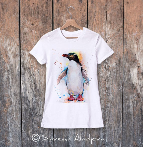 Yellow-eyed penguin watercolor ladies' T-shirt, women's tees, Teen Clothing, Girls' Clothing, ring spun Cotton 100%, watercolor print