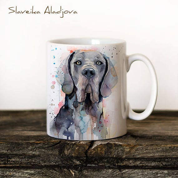 Blue Great Dane Mug Watercolor Ceramic Mug Unique Gift Coffee Mug Animal Mug Tea Cup Art Illustration Cool Kitchen Art Printed mug dog