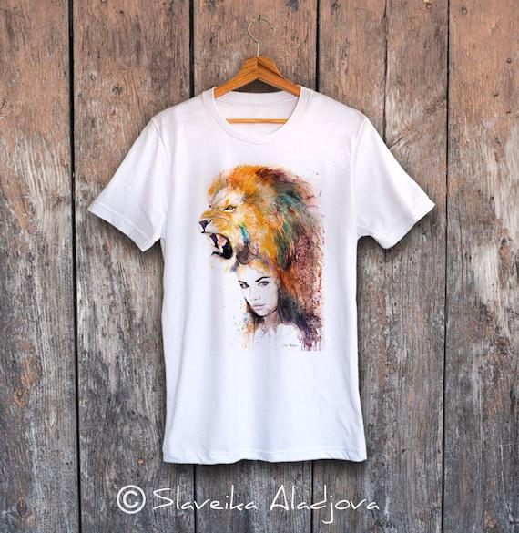Lion Girl  T-shirt, Unisex T-shirt, ring spun Cotton 100%, watercolor print T-shirt, T shirt art, T shirt animal,XS, S, M, L, XL, XXL