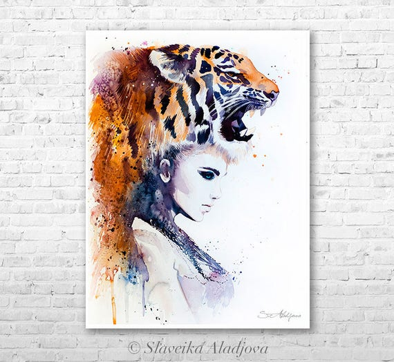 Tiger Girl watercolor painting print by Slaveika Aladjova, Fashion Illustration, Woman art, Illustration, watercolour, wall art, home decor
