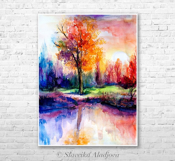 Sunset Landscape watercolor painting print by Slaveika Aladjova, illustration, Contemporary, nature art, landscape, original