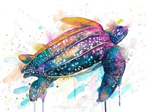 Original Watercolour Painting- Leatherback sea turtle art, animal, illustration, animal watercolor, animals paintings, animals, portrait,