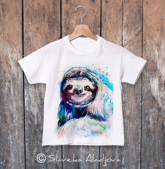 Sloth watercolor kids T-shirt, Boys' Clothing, Girls' Clothing, ring spun Cotton 100%, watercolor print T-shirt, T shirt art