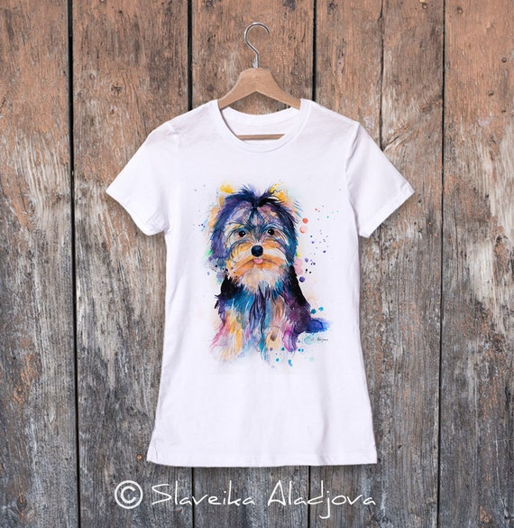 Yorkshire Terrier watercolor ladies' T-shirt, women's tees, Teen Clothing, Girls' Clothing, ring spun Cotton 100%, watercolor print