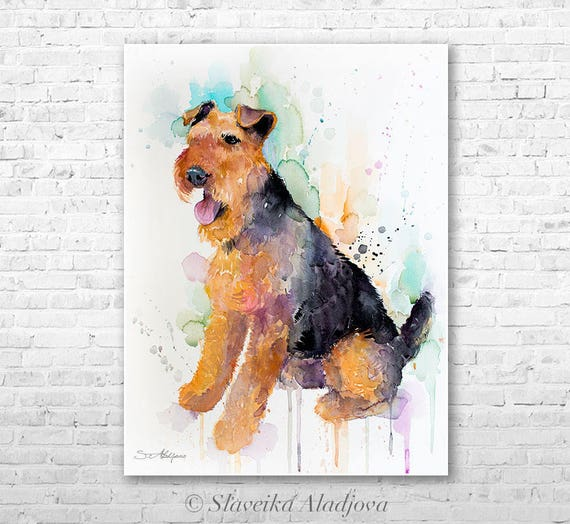 Original Watercolour Painting- Welsh Terrier art, animal, illustration, animal watercolor, animals paintings, animals, portrait,