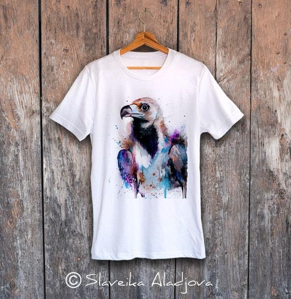 Cinereous Vulture T-shirt, Unisex T-shirt, ring spun Cotton 100%, watercolor print T-shirt, T shirt art, T shirt animal,XS, S, M, L, XL, XXL