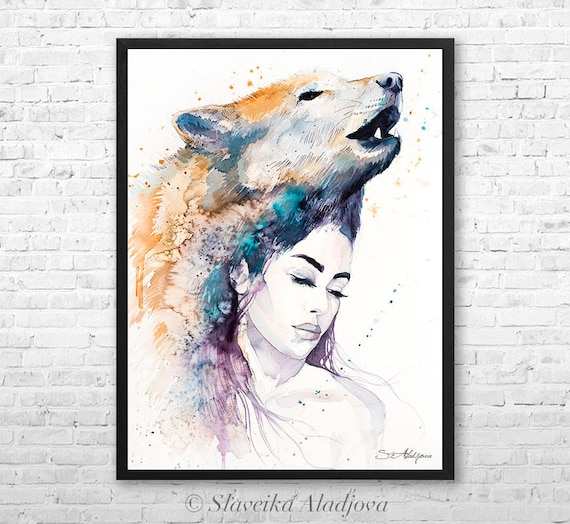 Wolf Girl watercolor framed canvas by Slaveika Aladjova, Limited edition, art, watercolor, animal illustration,bird art