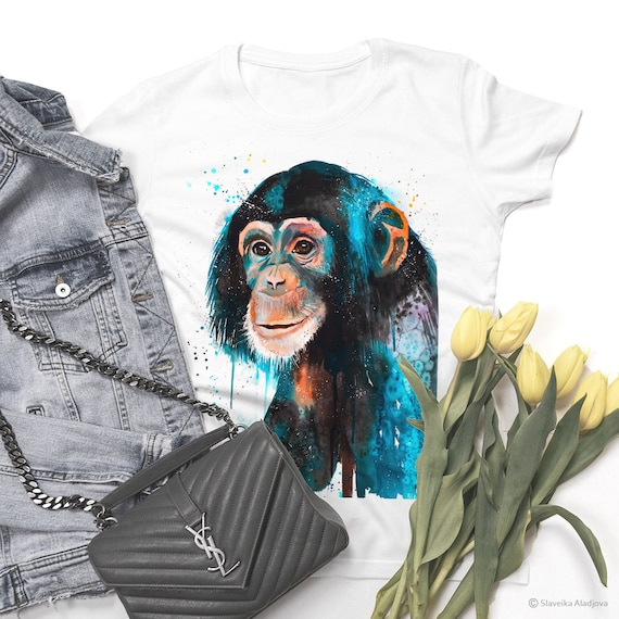 Baby Chimp Chimpanzee T-shirt, Unisex T-shirt, ring spun Cotton 100%, watercolor print T-shirt, T shirt art, T shirt animal, XS, S, M, L, XL