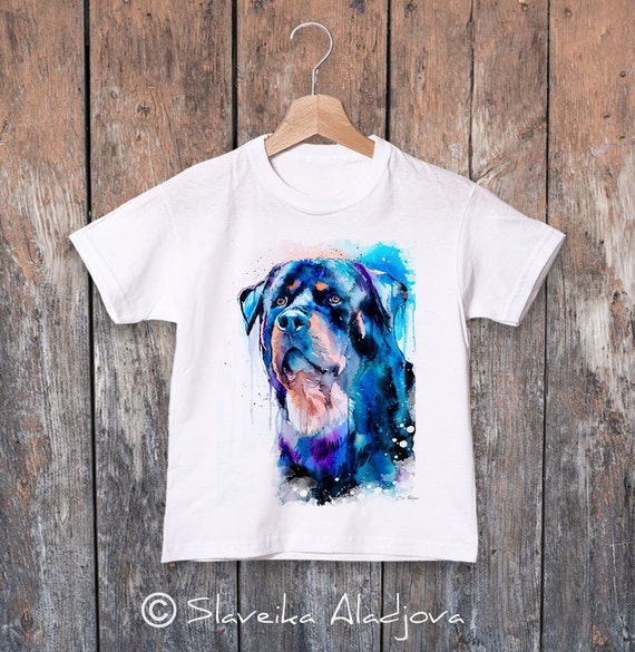 Rottweiler watercolor kids T-shirt, Boys' Clothing, Girls' Clothing, ring spun Cotton 100%, watercolor print T-shirt,T shirt art