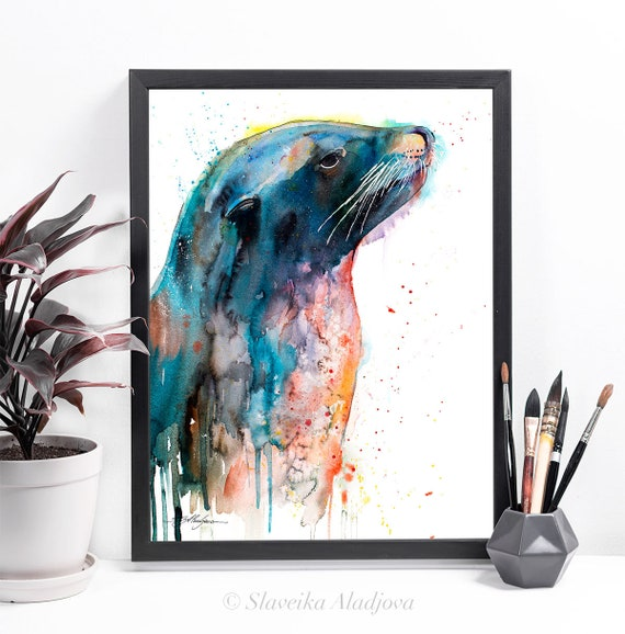 Sea lion watercolor framed canvas by Slaveika Aladjova, Limited edition, art, animal watercolor, illustration, extra large canvas