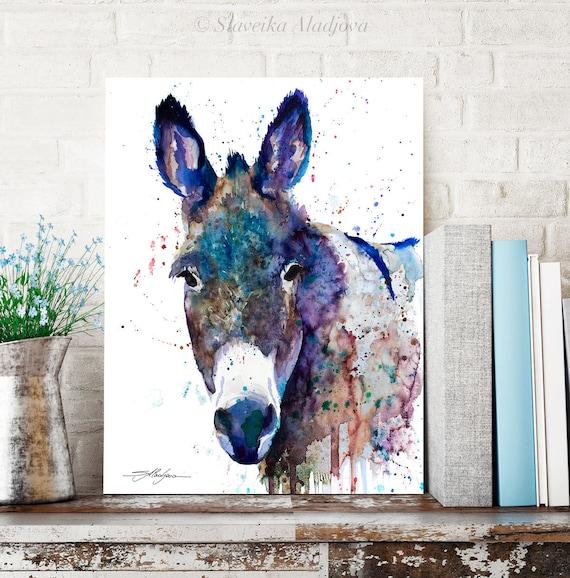 Blue Donkey watercolor painting print by Slaveika Aladjova, art, animal, illustration, home decor, wall art, portrait, Contemporary, farm