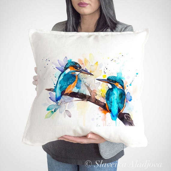 Kingfisher throw pillow cover by Slaveika Aladjova, cushion cover, Decorative Pillow Cover, Animal Art, Watercolor pillow, Christmas gift