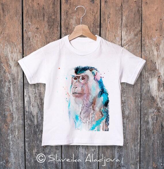 Macaque watercolor kids T-shirt, Boys' Clothing, Girls' Clothing, ring spun Cotton 100%, watercolor print T-shirt, T shirt art