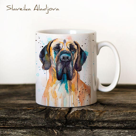 Great Dane Mug Watercolor Ceramic Mug Unique Gift Coffee Mug Animal Mug Tea Cup Art Illustration Cool Kitchen Art Printed mug dog