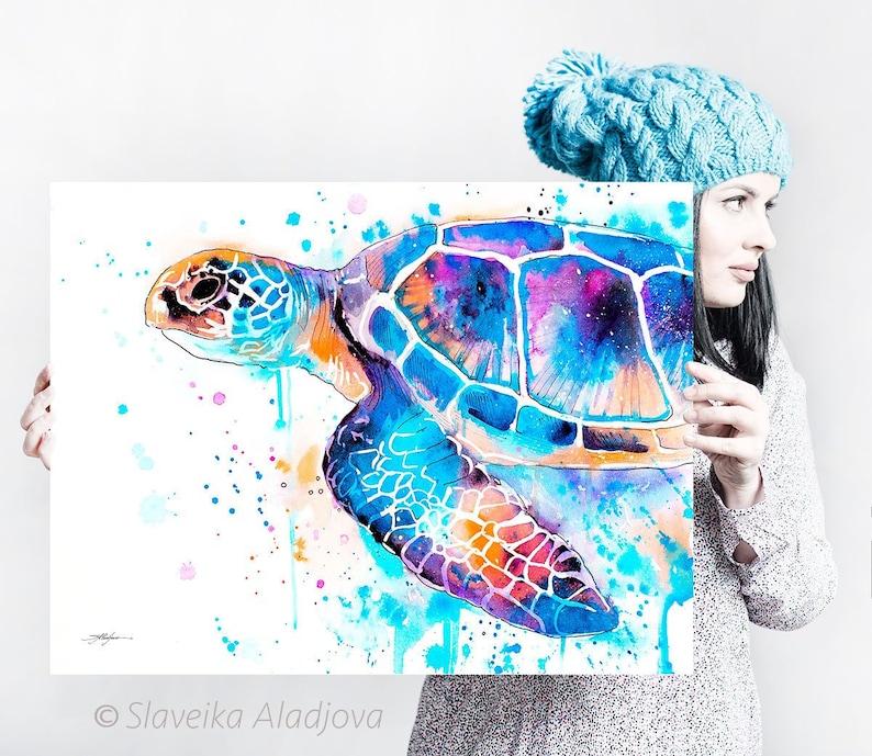 Blue Sea turtle watercolor painting print by Slaveika image 1