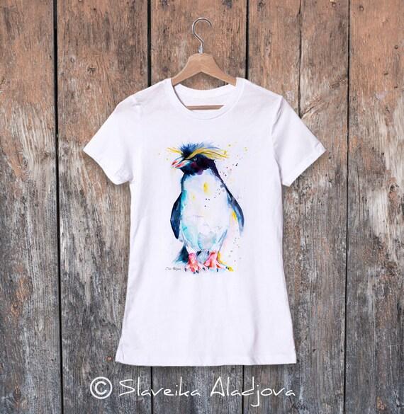 Rockhopper penguin watercolor ladies' T-shirt, women's tees, Teen Clothing, Girls' Clothing, ring spun Cotton 100%, watercolor print T-shirt