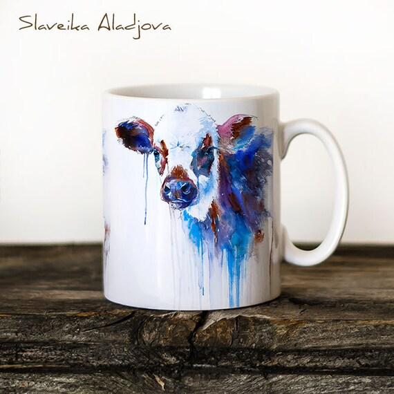 Cow Mug Watercolor Ceramic Mug Unique Gift Coffee Mug Animal Mug Tea Cup Art Illustration Cool Kitchen Art Printed mug