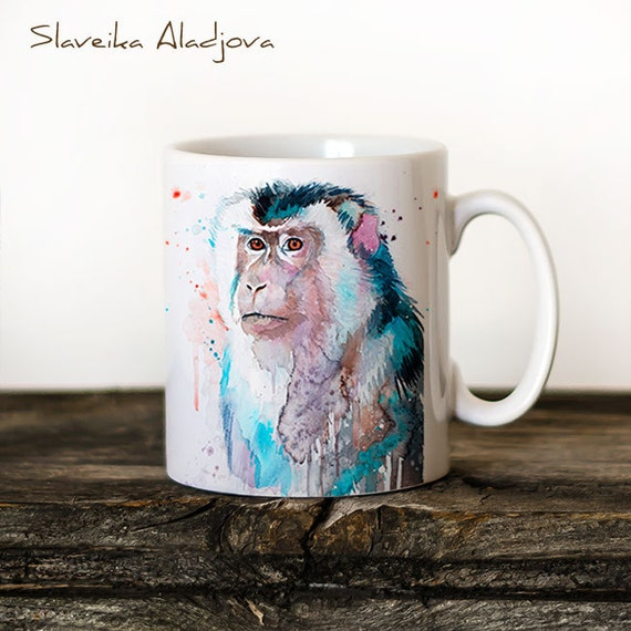 Macaque Mug Watercolor Ceramic Mug Unique Gift Coffee Mug Animal Mug Tea Cup Art Illustration Cool Kitchen Art Printed