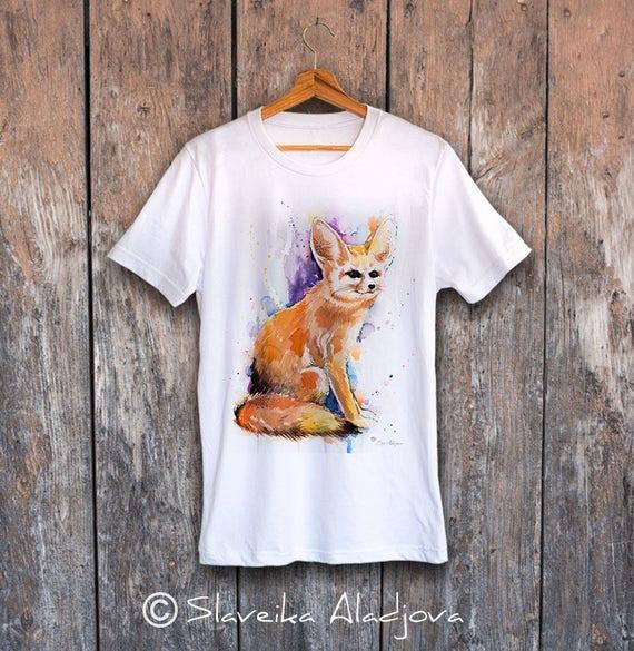 Fennec Fox T-shirt, Unisex T-shirt, ring spun Cotton 100%, watercolor T-shirt, T shirt art, T shirt animal, XS, S, M, L, XL, XXL