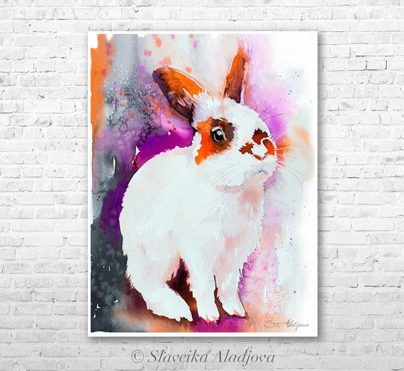 Sunny rabbit watercolor  painting print by Slaveika Aladjova, art, animal, illustration, home decor, Nursery, gift, Wildlife, wall art,