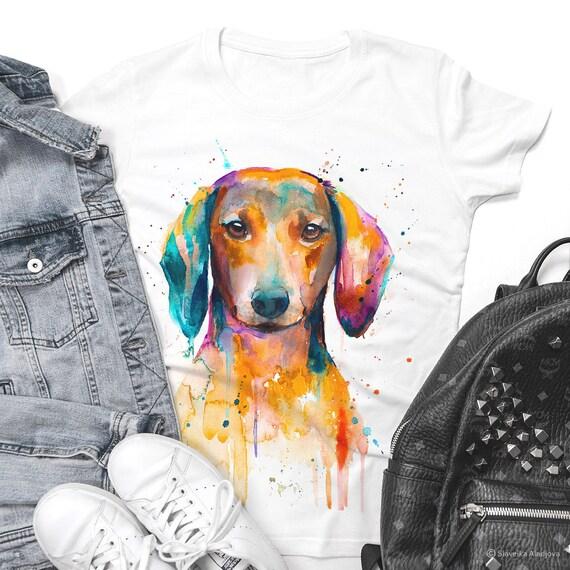 Red Dachshund T-shirt, Unisex T-shirt, ring spun Cotton 100%, watercolor print T-shirt, T shirt art, T shirt animal,XS, S, M, L, XL, XXL