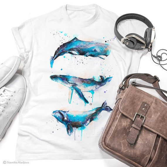 Sperm whale, Right whale,Humpback whale watercolor ladies' T-shirt, women's tees, Teen Clothing, Girls' Clothing, ring spun Cotton 100%,