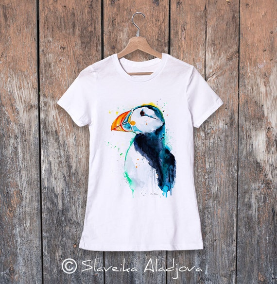 Puffin watercolor ladies' T-shirt, women's tees, Teen Clothing, Girls' Clothing, ring spun Cotton 100%, watercolor print