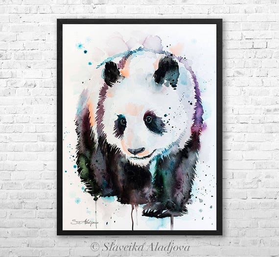 Panda watercolor framed canvas by Slaveika Aladjova, Limited edition, art, animal watercolor, animal illustration,bird art