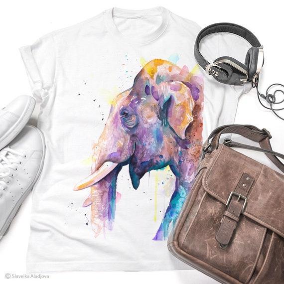 Asian Elephant Head T-shirt, Unisex T-shirt, ring spun Cotton 100%, watercolor print T-shirt, T shirt art, T shirt animal, XS, S, M, L, XL,
