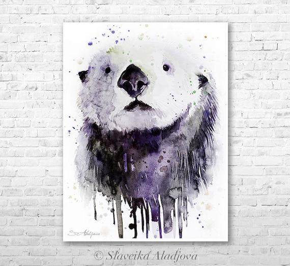 Sea Otter watercolor painting print by Slaveika Aladjova, art, animal, illustration, home decor, Nursery, gift, Wildlife, wall art