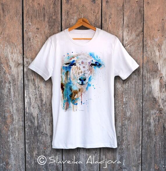 Sheep T-shirt, Unisex T-shirt, ring spun Cotton 100%, watercolor T-shirt, T shirt art, T shirt animal, XS, S, M, L, XL, XXL