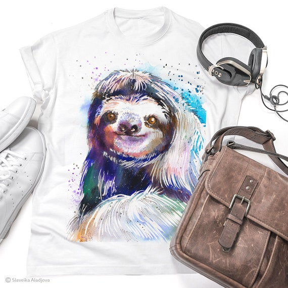 Three-toed sloth T-shirt, Unisex T-shirt, ring spun Cotton 100%, watercolor print T-shirt, T shirt art, T shirt animal, XS, S, M, L, XL
