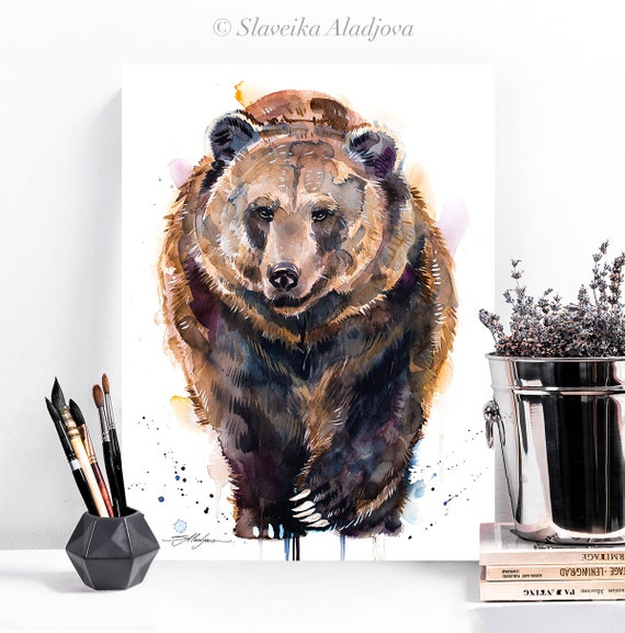 Brown bear watercolor painting print  by Slaveika Aladjova, art, animal, illustration, home decor, Nursery, gift, Wildlife, wall art