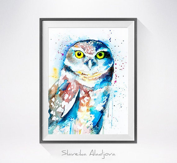 Original Watercolour Painting- Burrowing owl art, animal, illustration, animal watercolor, animals paintings, animals, portrait,