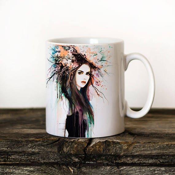 Spring Girl Mug Watercolor Ceramic Mug Unique Gift Coffee Mug Animal Mug Tea Cup Art Illustration Cool Kitchen Art Printed mug