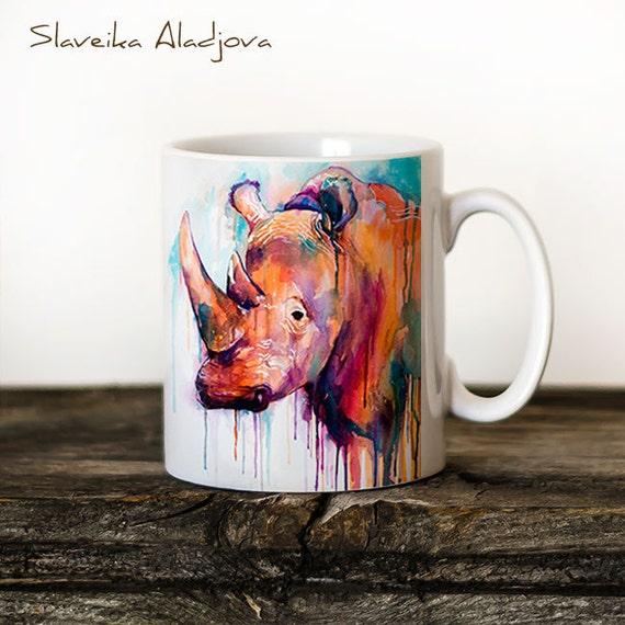 Rhino Mug Watercolor Ceramic Mug Elephant Unique Gift Coffee Mug Animal Mug Tea Cup Art Illustration Cool Kitchen Art Printed mug