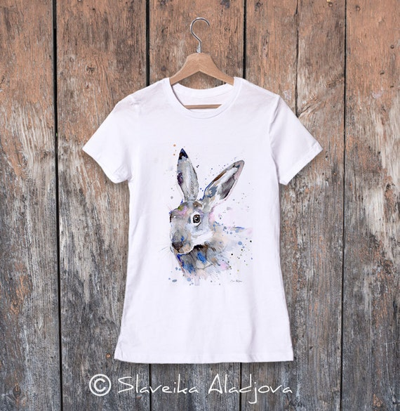 Jackrabbit watercolor ladies' T-shirt, women's tees, Teen Clothing, Girls' Clothing, ring spun Cotton 100%, watercolor print