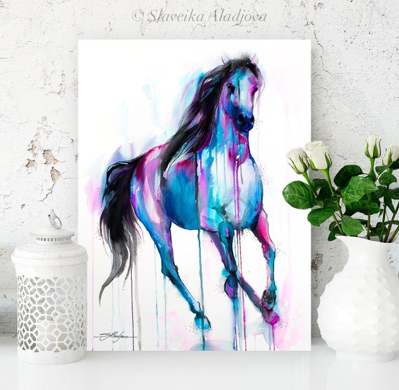 Magical Horse watercolor painting print by Slaveika Aladjova, art, animal, illustration, home decor, wall art, gift, farm, portrait