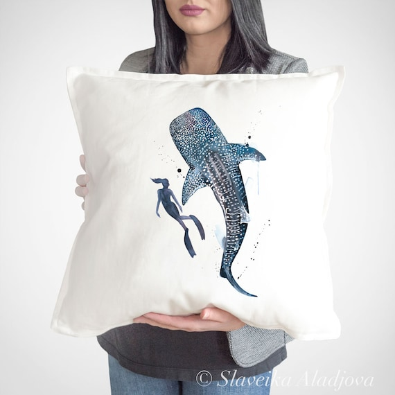 Scuba Diving with Whale Shark throw pillow cover by Slaveika Aladjova, cushion cover, Decorative Pillow Cover, Animal Art, Watercolor pillow