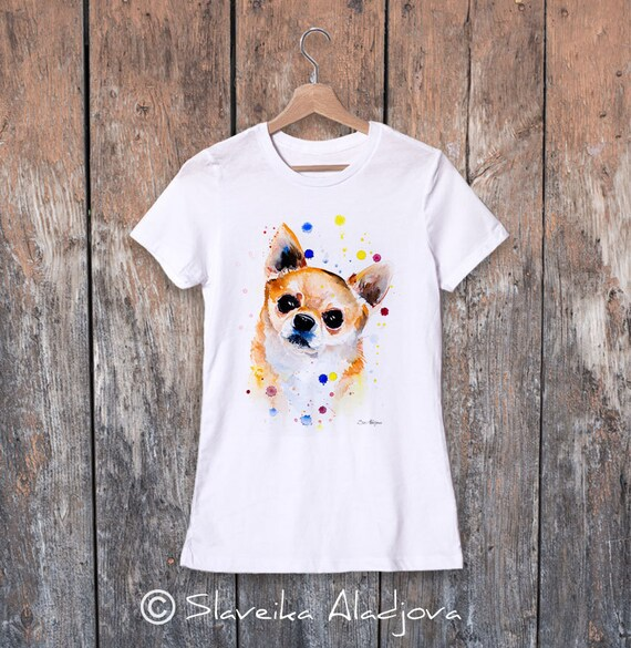 Chihuahua watercolor ladies' T-shirt, women's tees, Teen Clothing, Girls' Clothing, ring spun Cotton 100%, watercolor print T-shirt
