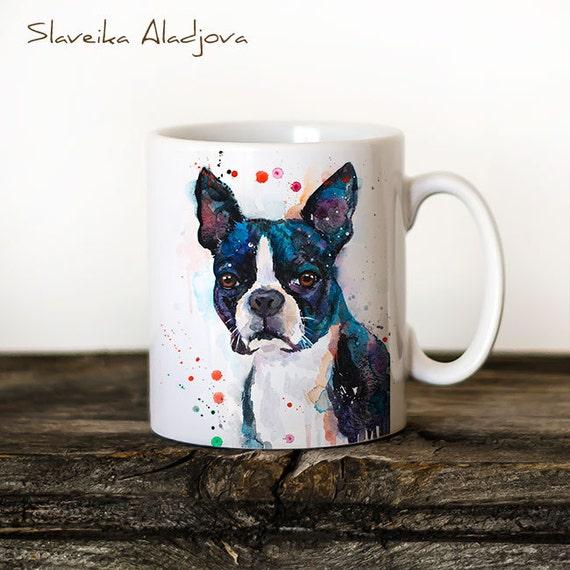 Boston Terrier Mug Watercolor Ceramic Mug Unique Gift Coffee Mug Animal Mug Tea Cup Art Illustration Cool Kitchen Art Printed