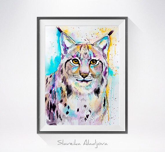 Original Watercolour Painting- Lynx art, animal, illustration, animal watercolor, animals paintings, animals, portrait,