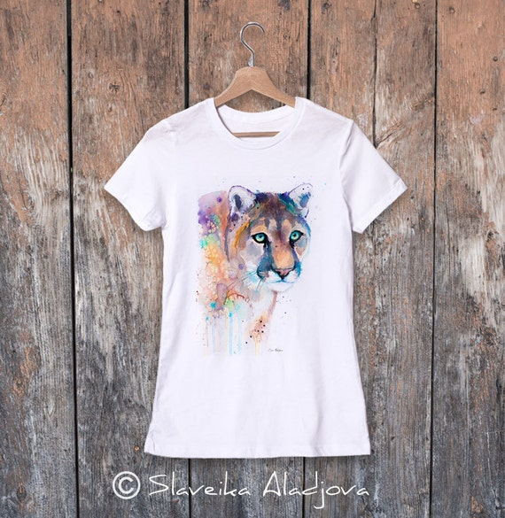 Puma watercolor ladies' T-shirt, women's tees, Teen Clothing, Girls' Clothing, ring spun Cotton 100%, watercolor print T-shirt,T shirt art