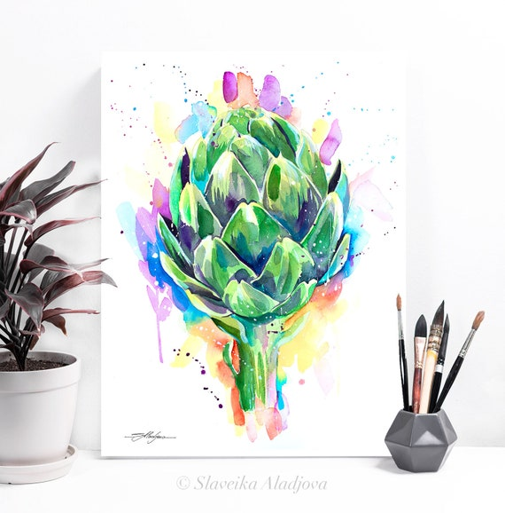 Artichoke watercolor painting print by Slaveika Aladjova, art, illustration, home decor, Contemporary, Kitchen Decor, Modern, Botanical
