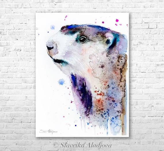 Marmot watercolor painting print by Slaveika Aladjova, art, animal, illustration, home decor, Nursery, gift, Wildlife, wall art